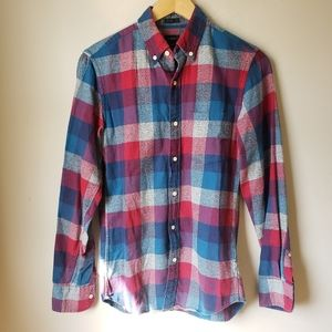 J.Crew Womens Slim Red and Blue Flannel